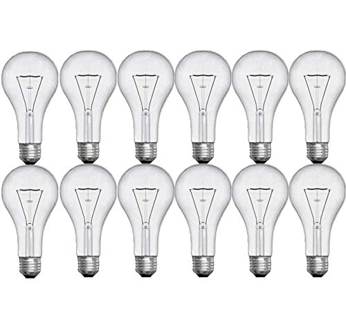 GE Crystal Clear Incandescent A21 Light Bulbs, 150-Watt, 2710 Lumen, Medium Base, Clear Light Bulbs, Soft White, 12-Pack, General Purpose Light Bulbs