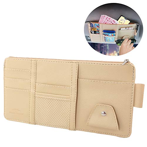 LXLQQ Auto Storage Fall Organizer Sonnenblende Sonnenschutz Hülle Wallet Clips für CD-Halter,Brillenfassungen,Parkscheine (Beige)