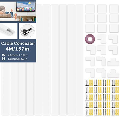 DazSpirit Kabelkanal Weiß 4M Kabelkanal Selbstklebend Weiss(10 Stk. - 400X24X14 mm), Lackierbarer Kabelschacht zum Verstecken von Kabel, Tv KabelkanäLe zur Kabelführung Fertig für Montage An der Wand