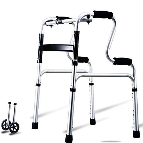 ZAQI Andador Andadores para Ancianos Caminantes de La Tercera Edad con Ruedas Grandes, Aluminio Ligero, Altura Ajustable, Paso de Asistencia para Interiores y Exteriores (Color : Silver)