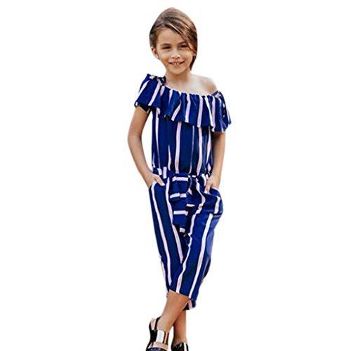 Moneycom Bebe Naissance Body Coton Vetement Bapteme Cute Romper Chic Fashion Maman & Enfant Fille Famille Combinaison Combinaison Imprimée Rayée À Épaules Dénudées Bleu(7-8 Ans)