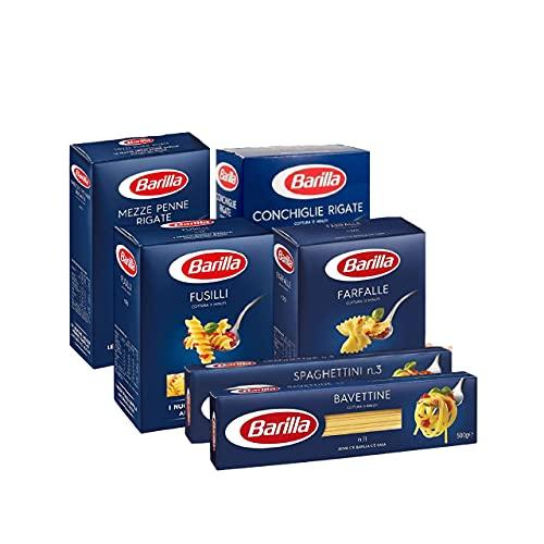 Barilla Pasta Variety Pack, Multipack con 6 tipi - Fusilli, Farfalle, Conchiglie, Mezze Penne, Bavettine, Spaghettini, 6 confezioni da 500 g - 3 kg (Pack 1)