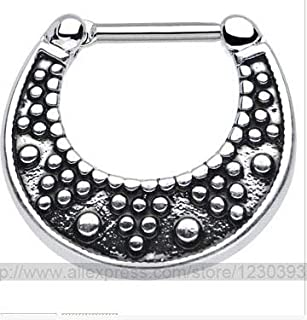 Quantek 2015 Fake Piercing Hot New Nose Ring Set Piercing Kit Lot of Stud Septum for Clicker Titanium Steel Jewelry 3 Different Styles - (Metal Color: Titanium Plated, Main Stone Color: White)