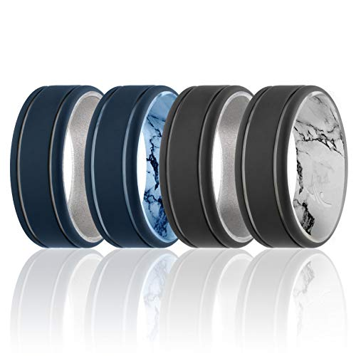ROQ Silicone Wedding Ring for Men - Duo Collection Lines Style - 4 Pack Silicone Rubber Wedding Bands - Classic Design - Beveled Metallic Platinum  Black  Marble  Blue  Silver Colors - Size 13
