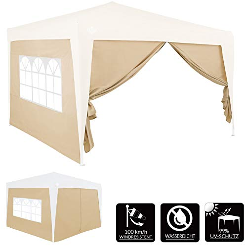 Deuba 2x 3x2m Gazebo Replacement Exchangeable Side Panel Wall with Window Marquee Sidewall Awning Canopy (Beige)