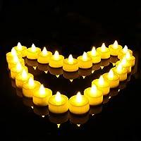 【24 CANDELE SENZA FIAMMA A LED】 - Tealights a LED senza fiamma a batteria di alta qualità. I materiali di alta qualità vengono utilizzati per imitare la sensazione e l'aspetto di vere candele. Sfarfallio e bagliore come vere candele. Caldo e romantic...