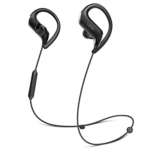 Bluetooth 5.0 Headphones Waterproof UiiSii BT100 Wireless Sport Earphones HiFi Bass Stereo In-ear Sweatproof Earbuds with Noise Canceling Mic 8 Hours Play Time Headset for Music, Gym, Workout, Running