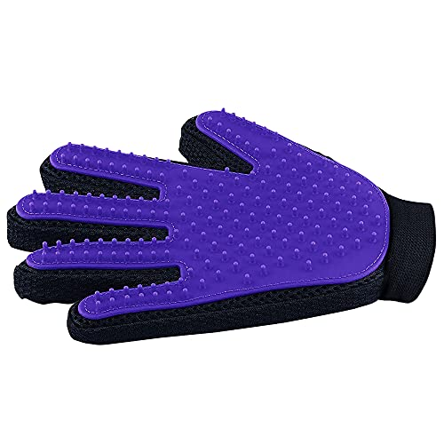 Pet Hair Remover Glove - Gentle Pet Grooming Glove Brush - Deshedding Glove - Massage Mitt with Enhanced Five Finger Design - Perfect for Dogs & Cats with Long & Short Fur - 1 Pack (Right-hand), Purpl
