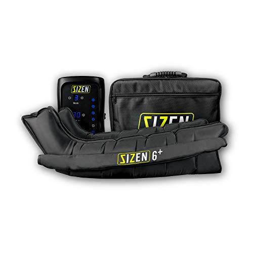 Máquina de presoterapia profesional en casa SIZEN 6+, con 6 cámaras de aire individuales, batería de li-ion recargable, presión y tiempo configurable con maleta de transporte (L)