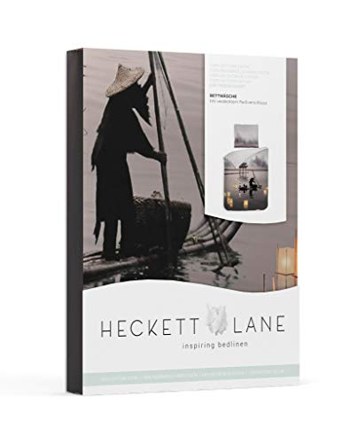 Heckett & Lane Satin Bettwäsche 135x200 Atami Night Grey asiatisch See Boot