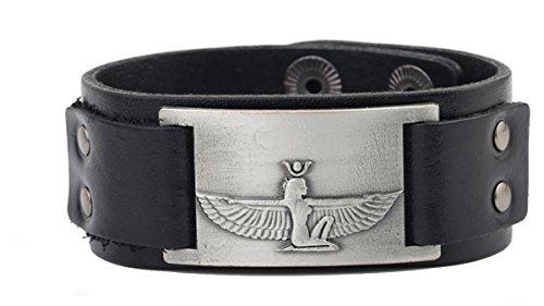 Skyrim Pulsera de cuero con alas de ángulo Isis de la Diosa egipcia antigua para la fertilidad y la prosperidad, joyería de regalo Adjustable