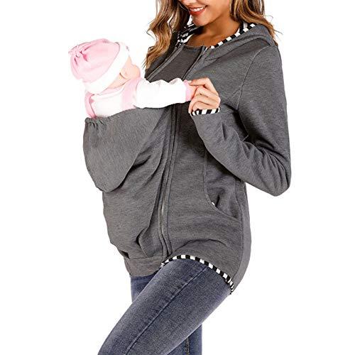 YXX Multifunción Canguro Invierno Mujer Embarazada Maternidad Sudadera con Capucha Fleece con Capucha Maternidad Mujer,Gris,XL