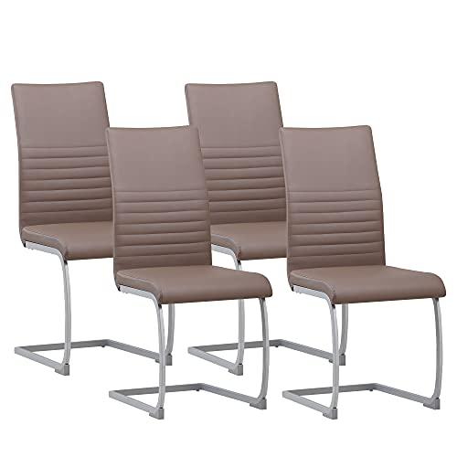 ALBATROS Freischwinger Murano 4-er Set Braun, SGS geprüft, Elegante Esszimmerstühle/Schwingstühle, bequem gepolstert