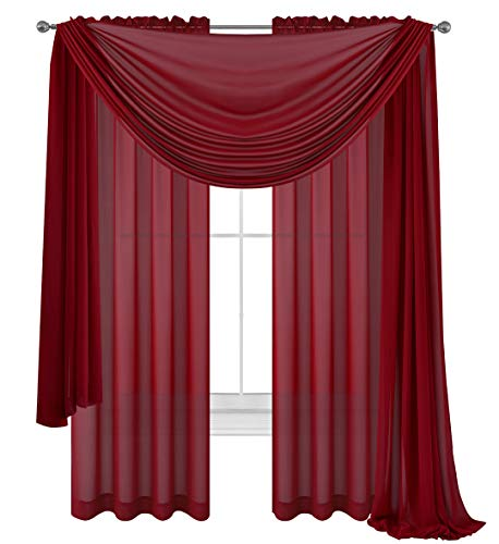 WPM WORLD PRODUCTS MART Drape/Panels/Scarves/Treatment Beautiful Sheer Voile Window Elegance Curtains Scarf -