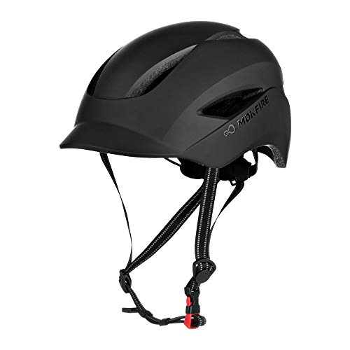 MOKFIRE Adult Bike Helmet with USB Charge Safety Light & Reflective Strap, Urban Commuter Bicycle Helmet CPSC and CE Certified for Adult Men/Women - Adjustable Size - Matte Black