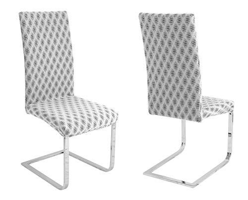 BEAUTEX 2er Set universal Stretch Stuhlhusse, elastische Husse Bi-Elastic, Motiv und Farbe wählbar (Bjorn Weiß)