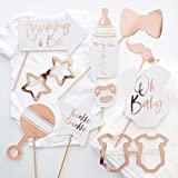 Ginger Ray 10 Pack Rose Gold Foiled Baby Shower Photo Booth Props Twinkle Twinkle