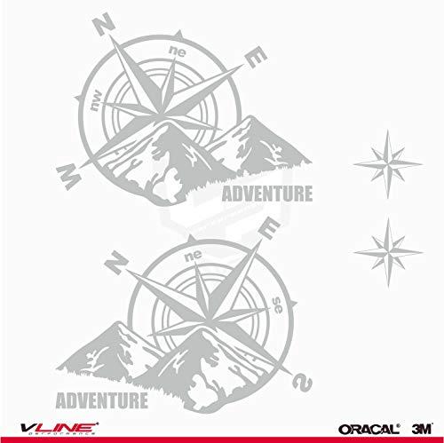 Provinyl Pegatinas Brújula Rosa de los Vientos Trail Off Road Todoterreno 4x4 Sport + 2 Estrellas para Coche o Moto (Plata)