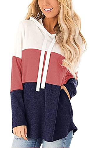 Vancavoo Sudadera Mujer Sudaderas Deporte Mujer Suéter Camiseta Mujer Manga Larga con Capucha Bloque de Color a Rayas Casual Ropa Tops Sweatshirt Chaqueta Invierno (Rojo marrón,M)