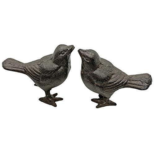 Pair of Sparrow Bird Garden Ornaments Cast Iron Vintage Feel Outdoor Birds
