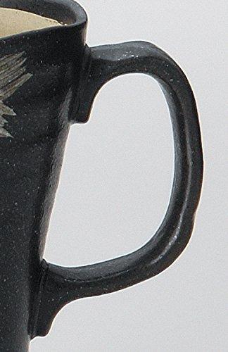 宗峰窯陶器ビールジョッキさざ波黒φ9.5×13cm(400cc)342-24-643