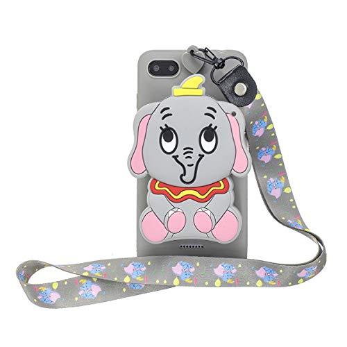WOOHOO Funda Silicona para el [Xiaomi Redmi 6A ] Elefante (cordón Largo) de Dibujos Animados en 3D con Cordón Carcasa para Redmi 6A para Mujeres y Niños - Gris