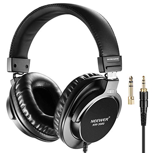 Neewer NW-3000 Closed Studio Headphones 10Hz-26kHz Lightweight Dynamic Headsets with 3 meters Cable 6.5mm Plugs for Appreciating Music, Watching Movies, Playing Games, Recording