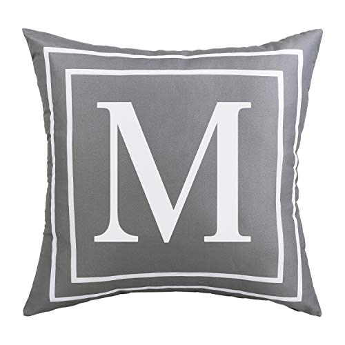 Fascidorm Gray Pillow Cover English Alphabet M Throw Pillow Case Modern Cushion Cover Square Pillowcase Decoration for Sofa Bed Chair Car 18 x 18 Inch