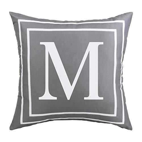 ASPMIZ Fundas de almohada con letras del alfabeto inglés M, fundas de almohada con inicial en color gris, funda de cojín decorativa para cama, dormitorio, sofá (gris, 45,7 x 45,7 cm)