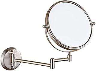 DOWRY 8-Inch Double-Sided Wall Mounted Makeup Mirror with 10x Magnification,Satin Nickel Finish 1306N(8in,10x)