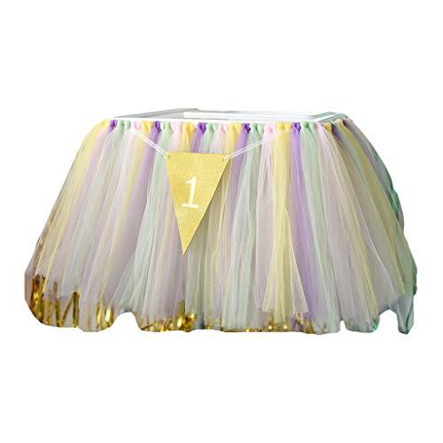 Falda de mesa, decoración de silla alta, tutú de tul para mesa, falda de color de contraste, mantel para niña princesa Baby Shower suministros de fiesta de primer cumpleaños 6