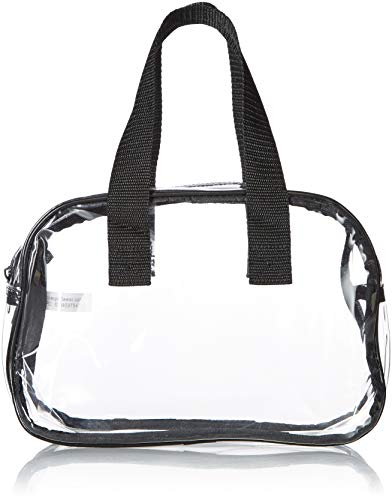 Clear Purse that is Event Stadium Approved. Clear Handbags for Cosmetics, Makeup, and Travel. Clear Bag Made of Transparent Plastic (Black)