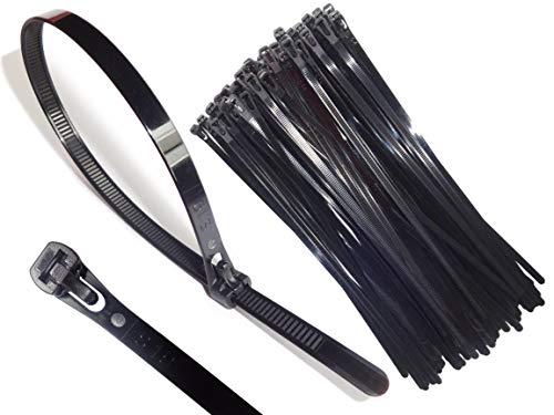 Kabelbinder wiederverschließbar 200 x 7,6 mm schwarz weiß 110 Stück wiederverwendbar wiederlösbar nachhaltig hochwertig (Schwarz)