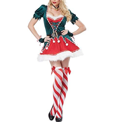 Women Christmas Elf Costume Santa Helper Velvet Dress Adult Sexy Green Elf Outfits Christmas Cosplay Costume (Red, M)