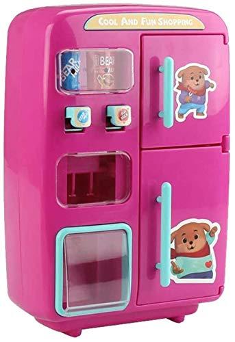 WXH SLL- 31pcs elektrische Simulation Kühlschrank Spielzeug Automat Pretend Play-Spielzeug mit Lebensmitteln, Kinder pädagogisches Spielzeug-Geschenk - Pink, Rosa 28.5x13x27.5cm