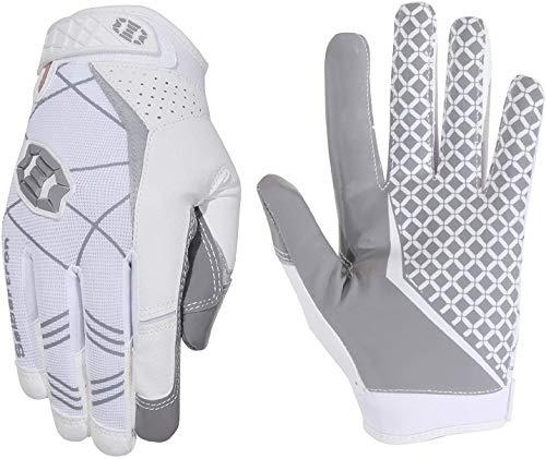 Seibertron Pro 3.0 Elite Ultra-Stick Sports Receiver/Empfänger Handschuhe American Football Gloves Jugend und Erwachsener (Weiß, L)