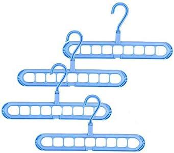 EKKONG Perchas Ropa Mágico, Multifuncional Perchas Plastico, Paquete de 4 Piezas Perchas Organizadoras Ahorran Espacio, Percha para Interiores Armario al Aire Libre, con 9 Agujeros, Azul