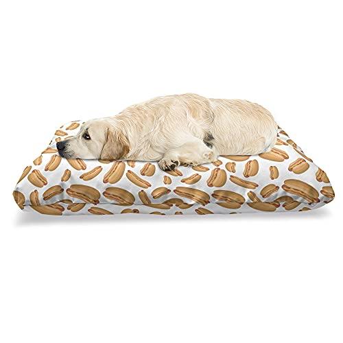 ABAKUHAUS Hotdog Haustierbett, Simplistic Sandwich Doodle, beissfestes Kissen für Hunde und Katzen mit abnehmbaren Bezug, 60 cm x 100 cm, Mehrfarbig