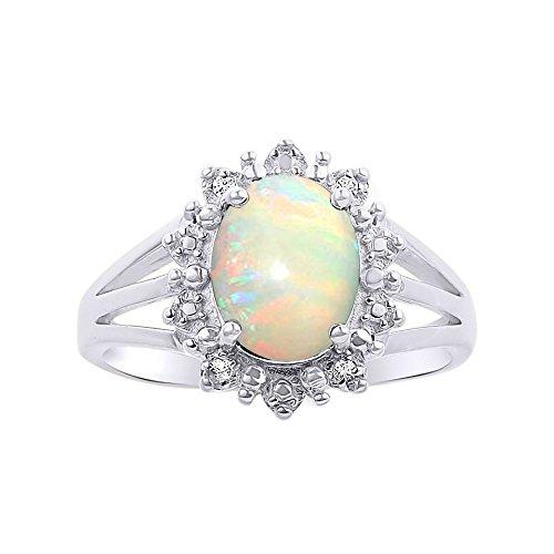 Princesa Diana inspirado Halo Diamond & Opal juego de anillos en plata de ley .925