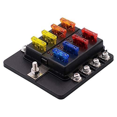 GZCRDZ - Caja de fusibles de 8 vías, 12 V, 36 V, con luz de advertencia LED y kit de protección impermeable para coche, RV,barco o triciclo marino