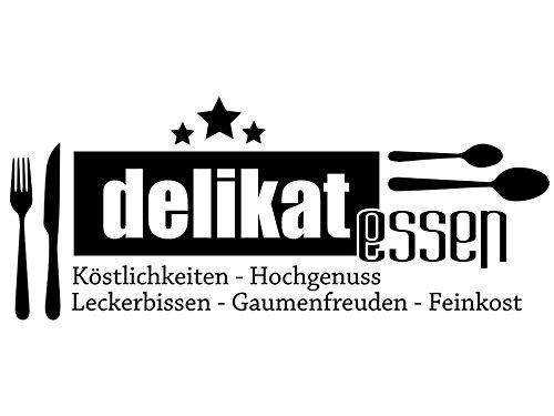Wandtattoo-bilder® Wandtattoo Küchen Sprüche Delikat Essen Nr 2 Küchendeko Esszimmer Wandaufkleber Küchenbilder Küchenaufkleber Farbe Hellrosa, Größe 80x33