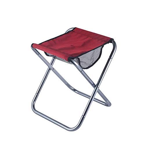Silla de camping plegable al aire libre de aleación de aluminio Silla de pesca espesar taburete de senderismo asiento plegable silla para pesca al aire libre (color: negro) ZZ666 (color: rojo)