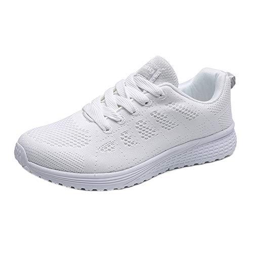 Zapatos para Correr para Parejas Zapatillas para Mujeres Zapatos Deportivos con Cordones Transpirables Zapatos de Malla con amortiguación de Aire para Damas Zapatos con Cordones de Color sólido