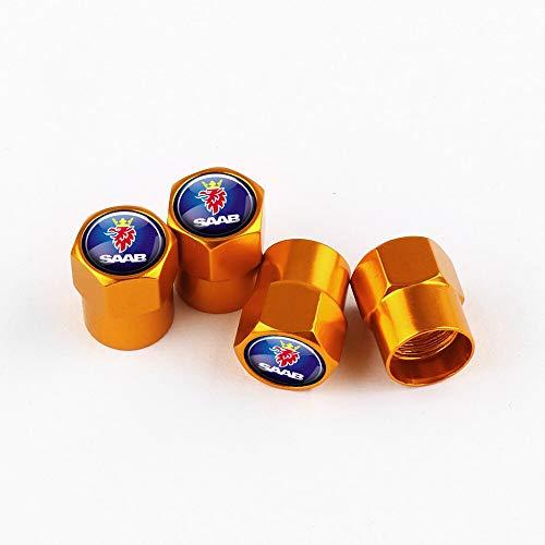 Tapas de válvula de neumático Coche 3D Metal 4pcs Auto Wheel Válvula de neumático Tapas de vástago Cubierta compatible con Saab Scania Aero 9-3 9-5 93 95 900 9000 Accesorios emblema Tapa de llanta