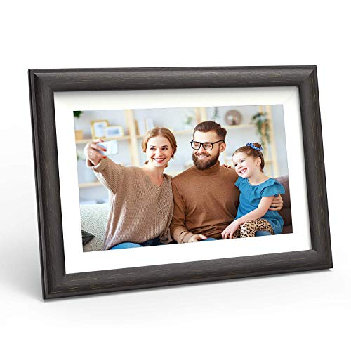 WiFi Digital Picture Frame 10-inch - Smart Photo Frame with Touch Screen - Electric Picture Frame Share Photos and Videos via App Cloud with Brown Wood Frame by FLYAMAPIRIT