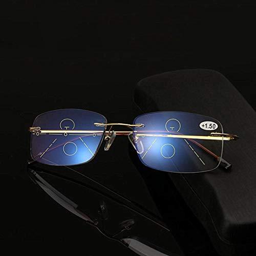 HKD Multi Focus Gafas De Lectura Metal Sin Montura Antifatiga Lectores para Protección contra Luz Azul Hombres Mujeres Gafas De Lectura (Color : Gold, Size : +1.50)