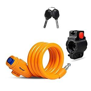 Cerradura de Bicicleta Antirrobo Montaje Flexible,Candado de Cable en Espiral para Bicicleta,Bicicleta Mejor antirrobo seguridad Bloqueo,Bicicleta al Aire Candado Cadena (amarillo)