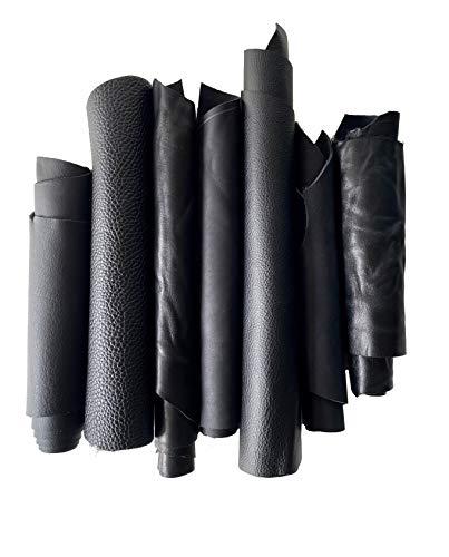 IPEA 1 kg de cortes de piel auténtica de color negro en tamaño aleatorio – Retales con diferentes formas – Restos de producción artesanal – Piezas de cuero