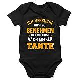 Shirtracer Sprüche Baby - Ich versuche Mich zu benehmen Aber ich komme nach meiner Tante orange - 18/24 Monate - Schwarz - Baby Strampler Junge Tante - BZ10 - Baby Body Kurzarm für Jungen und Mädchen