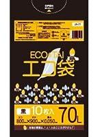 ゴミ袋 70L 800x900x0.050厚 黒 10枚x30冊/箱 LLDPE素材 (黒, 厚さ0.050㎜)